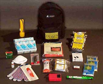 The Survival Backpack- All Backpack Kits include:1 Flashlight, 2 code Red Batteries, 1 51- Piece First Aid Kit, 1 Light Stick, 1 Two Person Tent, 1 5-N-1 Whistle, 1 Pair of Leather Palm gloves, 1 Utility Knife, 1 50-ft. Nylon cord, 1 box of waterproof Matches, 1 Campers Stove w/8 Fuel Tablets, AM Radio, 1 box of 50 Water purification Tablets.